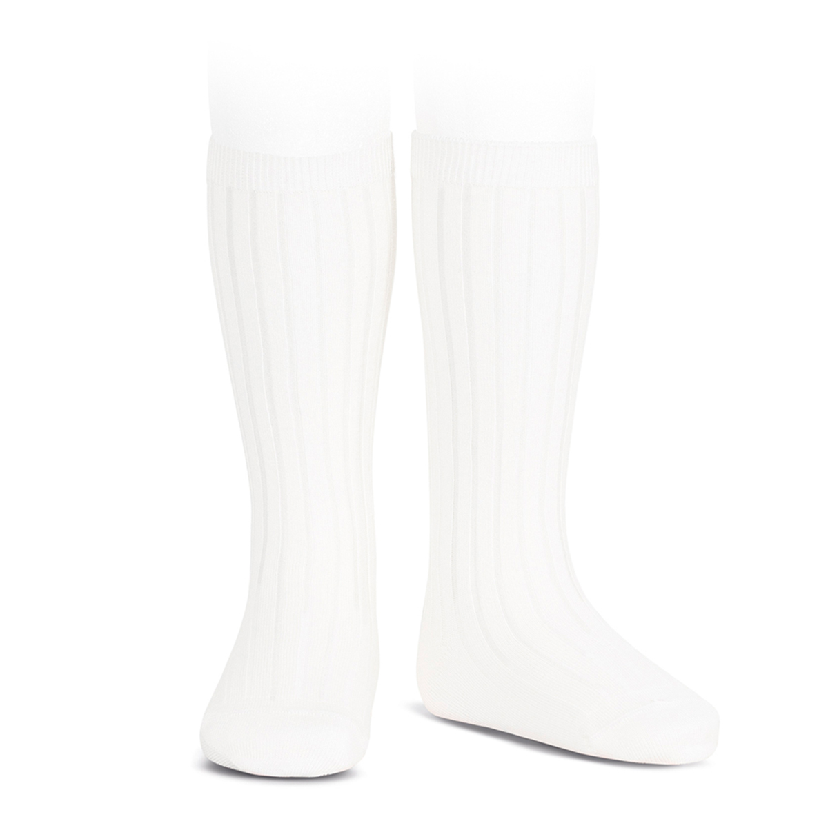 Condor Basic Rib Knee High Socks in White