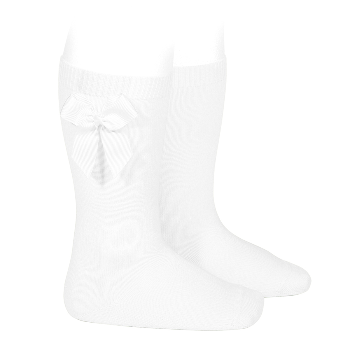 Condor Bow Knee High Socks in White