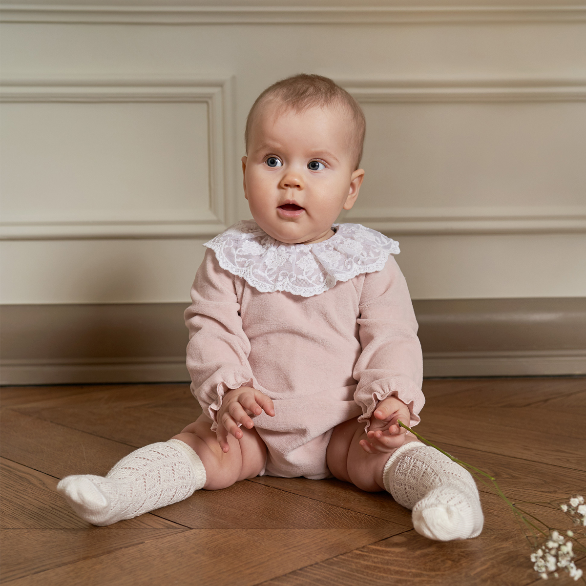 Bebe Organic Rosie Romper in Rose Petal on baby