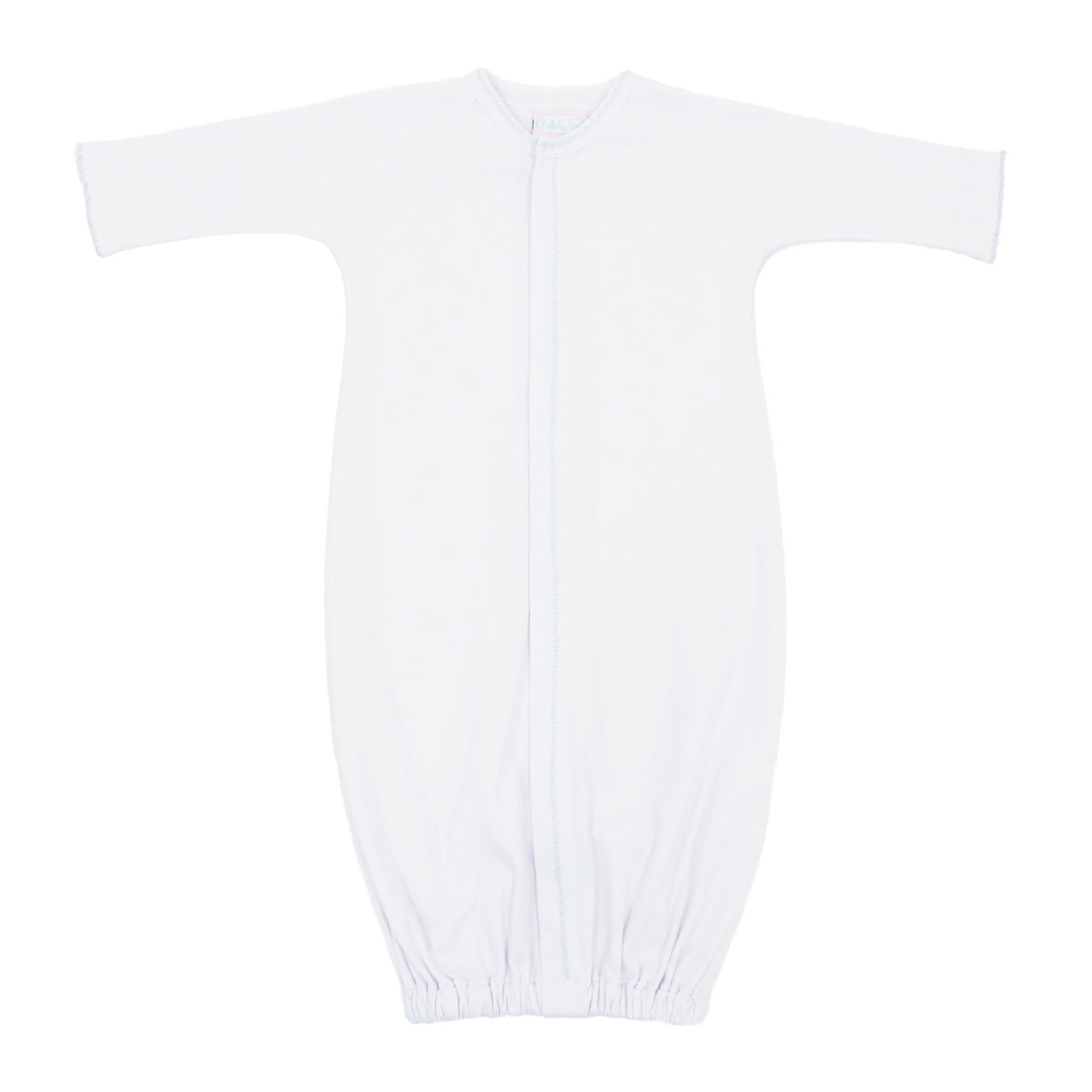 Lullaby Set Saque in White with Blue Feather Stitching