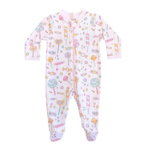 Baby Noomie Zipper Footie in Light Pink w/ Lollipops