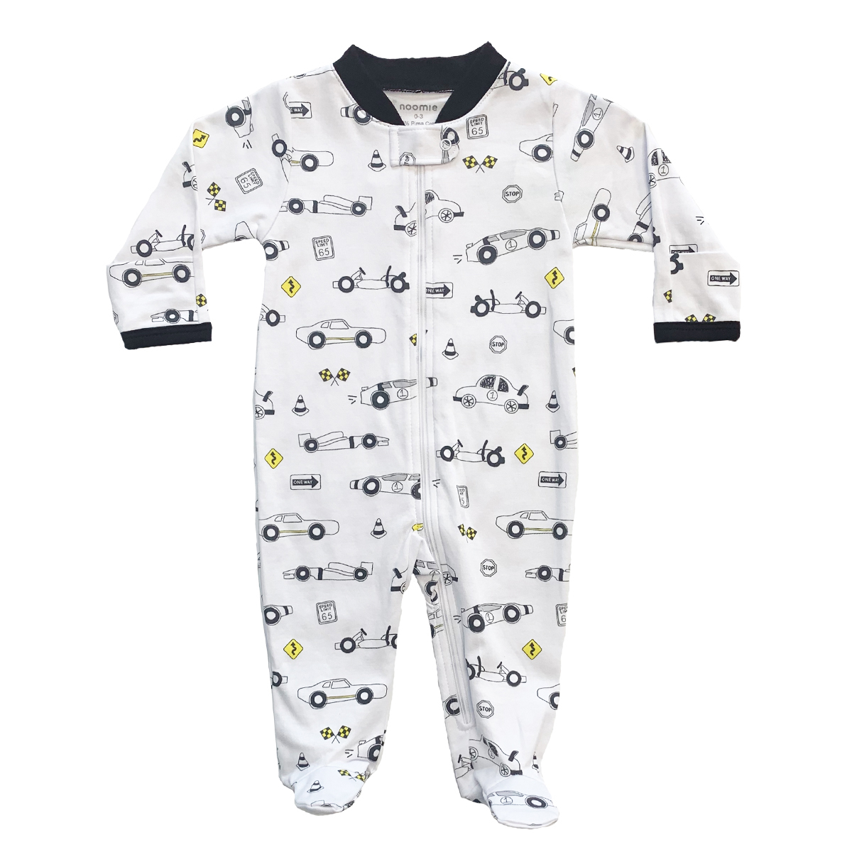 Baby Noomie Zipper Footie in White with Car Print