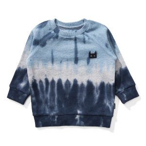 Munster Kids Dribble Sweater in Blue & Black Tie Dye