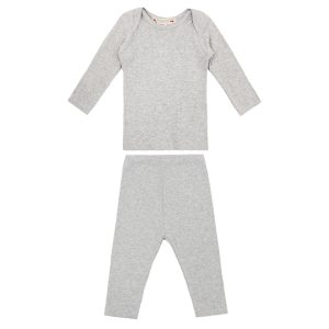 Bonpoint Two Piece Cotton Set in Light Grey