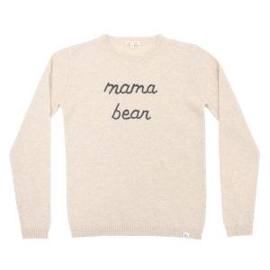 Baby & Taylor Adult Cashmere Sweater in Beige with Charcoal embroidery
