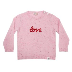 Baby & Taylor Kid's Cashmere Sweater in Speckled Pink with Red Embroidery