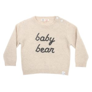 Baby & Taylor Kid's Cashmere Sweater in Beige with Petrol Blue Embroidery