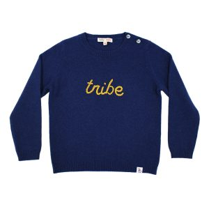Baby & Taylor Kid's Cashmere Sweater in Navy with Mustard Embroidery