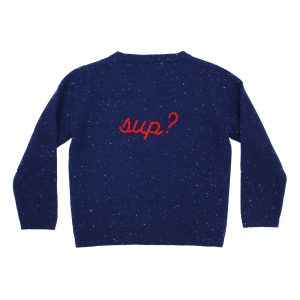 Baby & Taylor Kid's Cashmere Cardigan in Speckled Navy with Red Embroidery