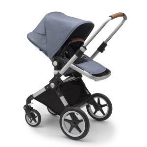 Bugaboo Lynx Stroller In Aluminum Frame with Blue Melange Fabric