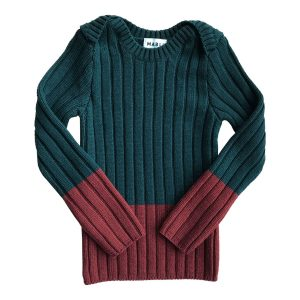 Mabli Knits Brenin Rib Shirt in Forest & Redwood
