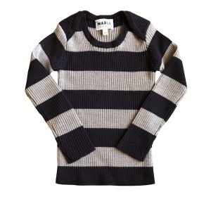 Mabli Knits Sylfaen Skinny Rib Shirt in Ink & Wheat Stripe