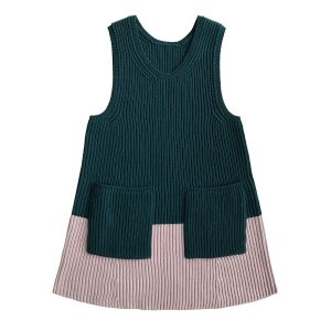 Mabli Knits Evanna Pinafore Dress in Forest & Blush