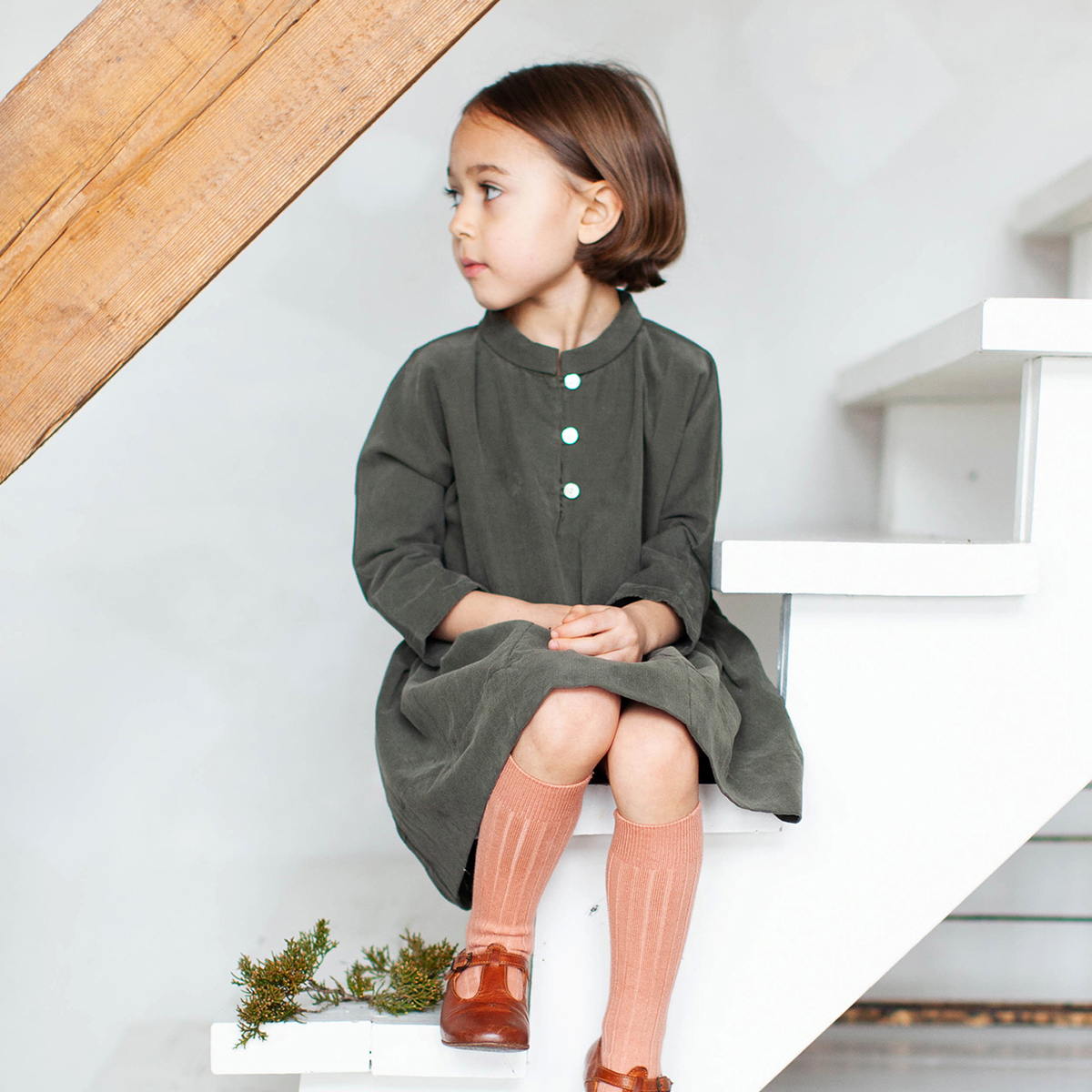 Soor Ploom Gilda Dress in Peat Green on Girl