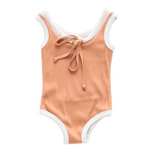Zulu and Zephyr Mini Band One Piece Swimsuit in Terracotta