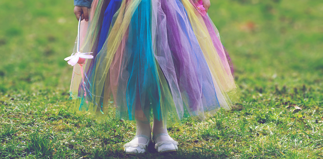 child in a colourful tutu