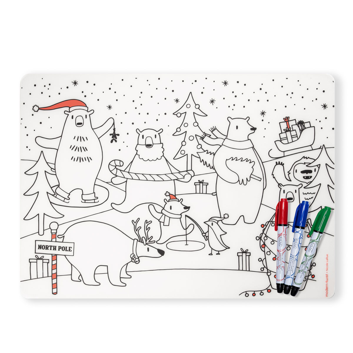 Modern Twist Polar Bear Coloring Placemat