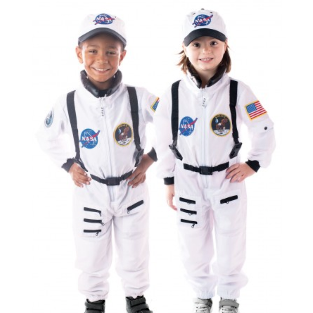 A boy and girl wearing Aeromax astronaut costumes
