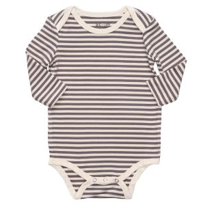 hart + land simple stripe long sleeve lap shoulder body suit
