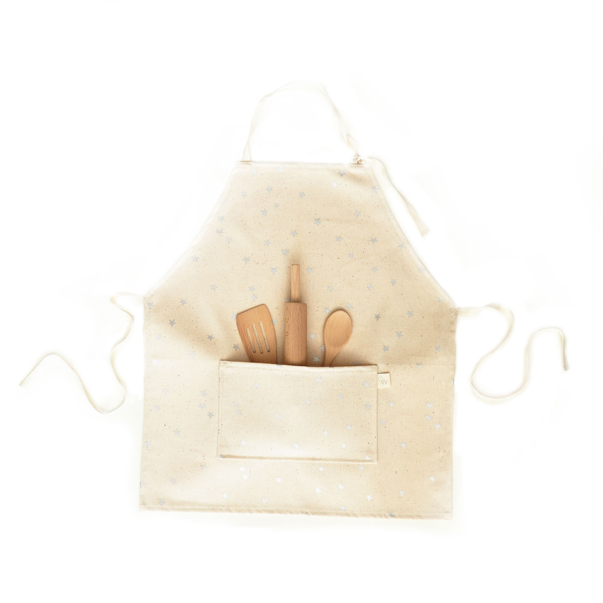 Odette Williams Natural Apron with Silver Stars
