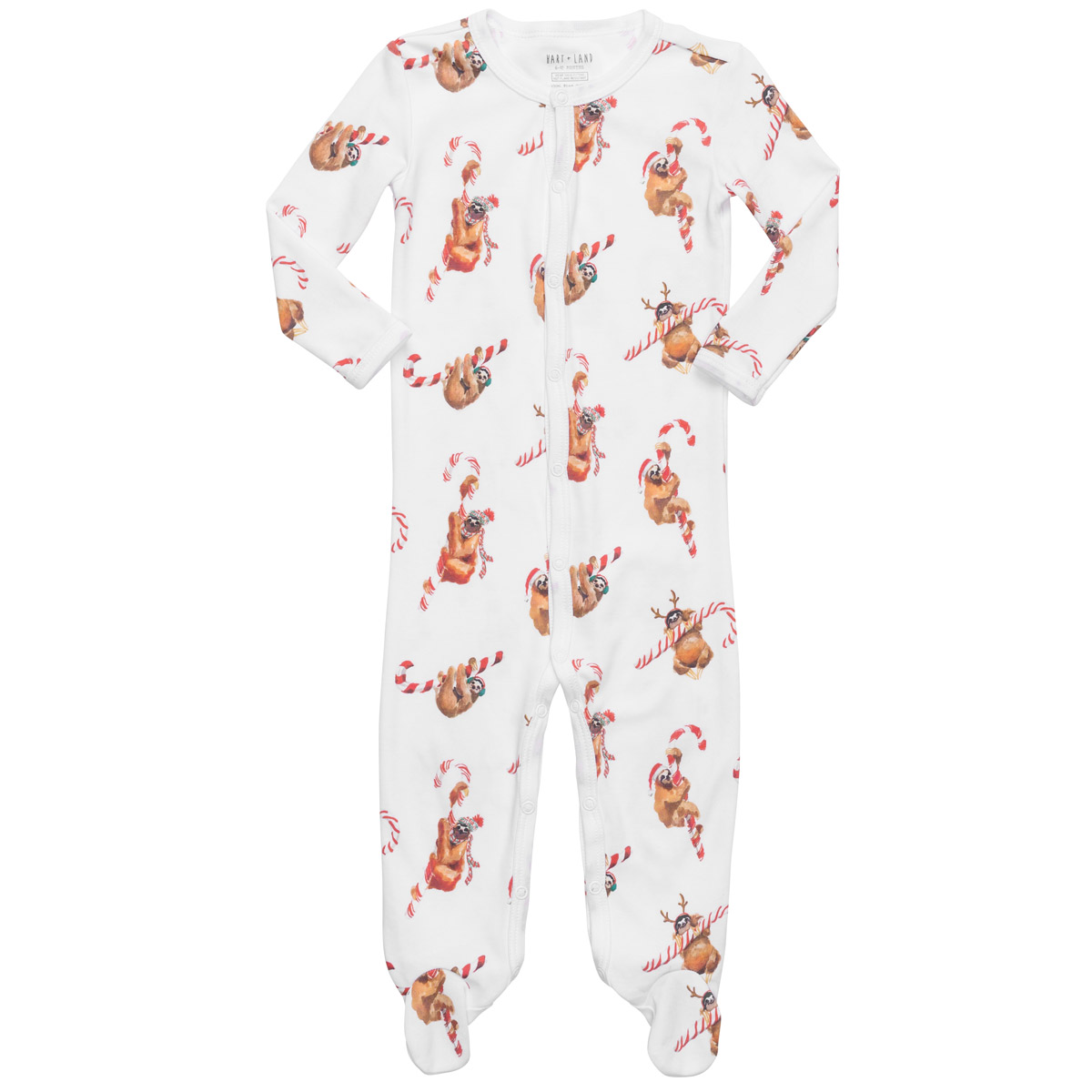 HART + LAND Holiday Sloths Footed Pajamas