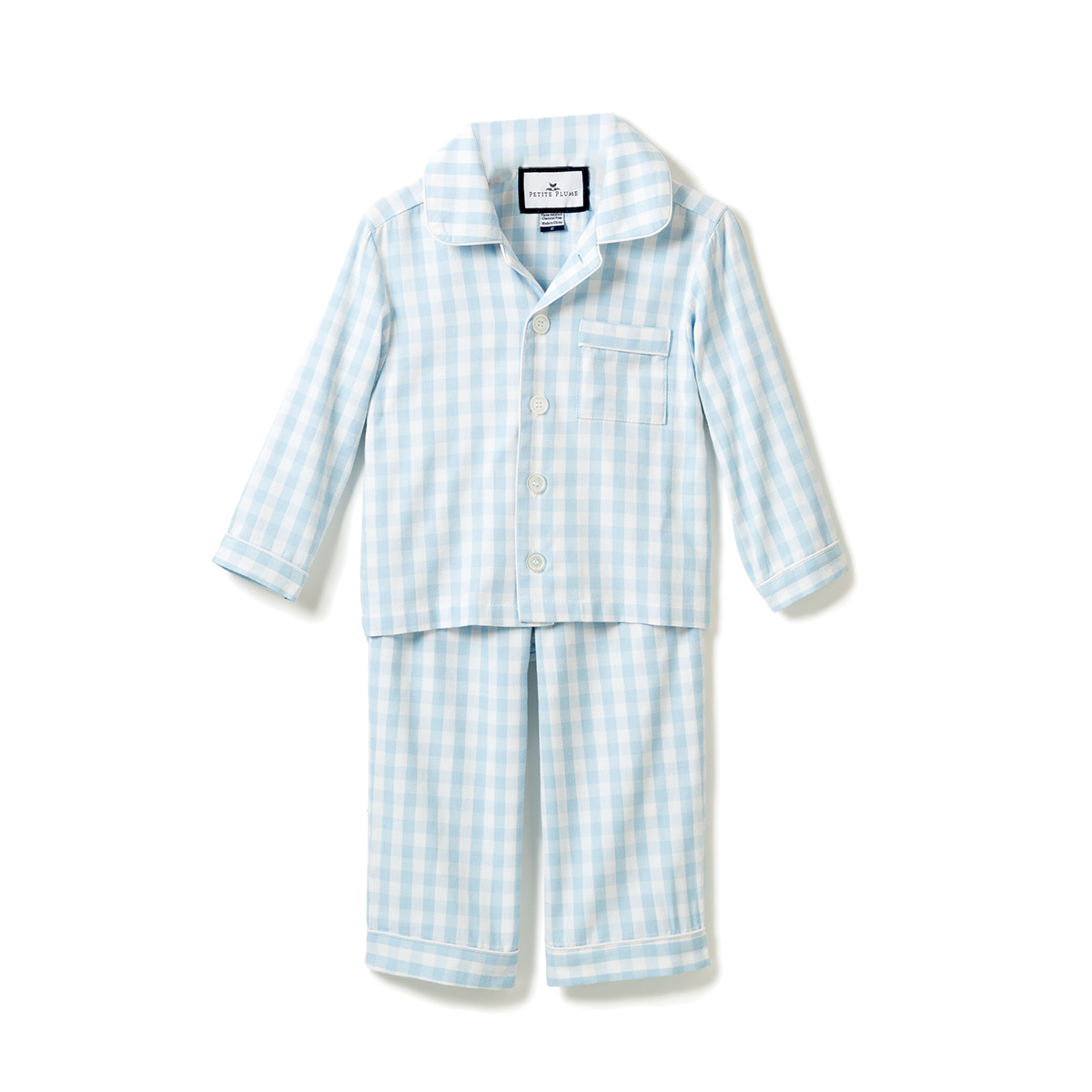 Petite Plume Light Blue Gingham Pajama Set- Kids