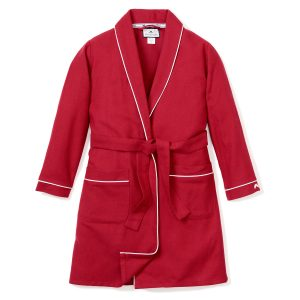 Petite Plume Adult Red Flannel Robe with White Piping