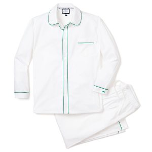 Petite Plume Adult White PJs with Dark Green Double Piping