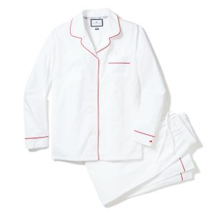 Petite Plume Adult White PJs with Dark Red Piping