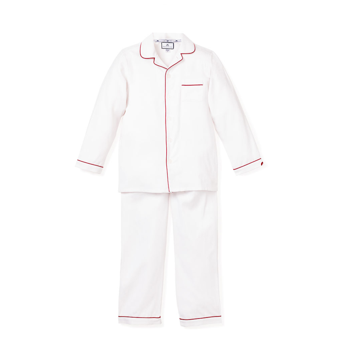 Petite Plume Classic White Pajamas with Red Piping