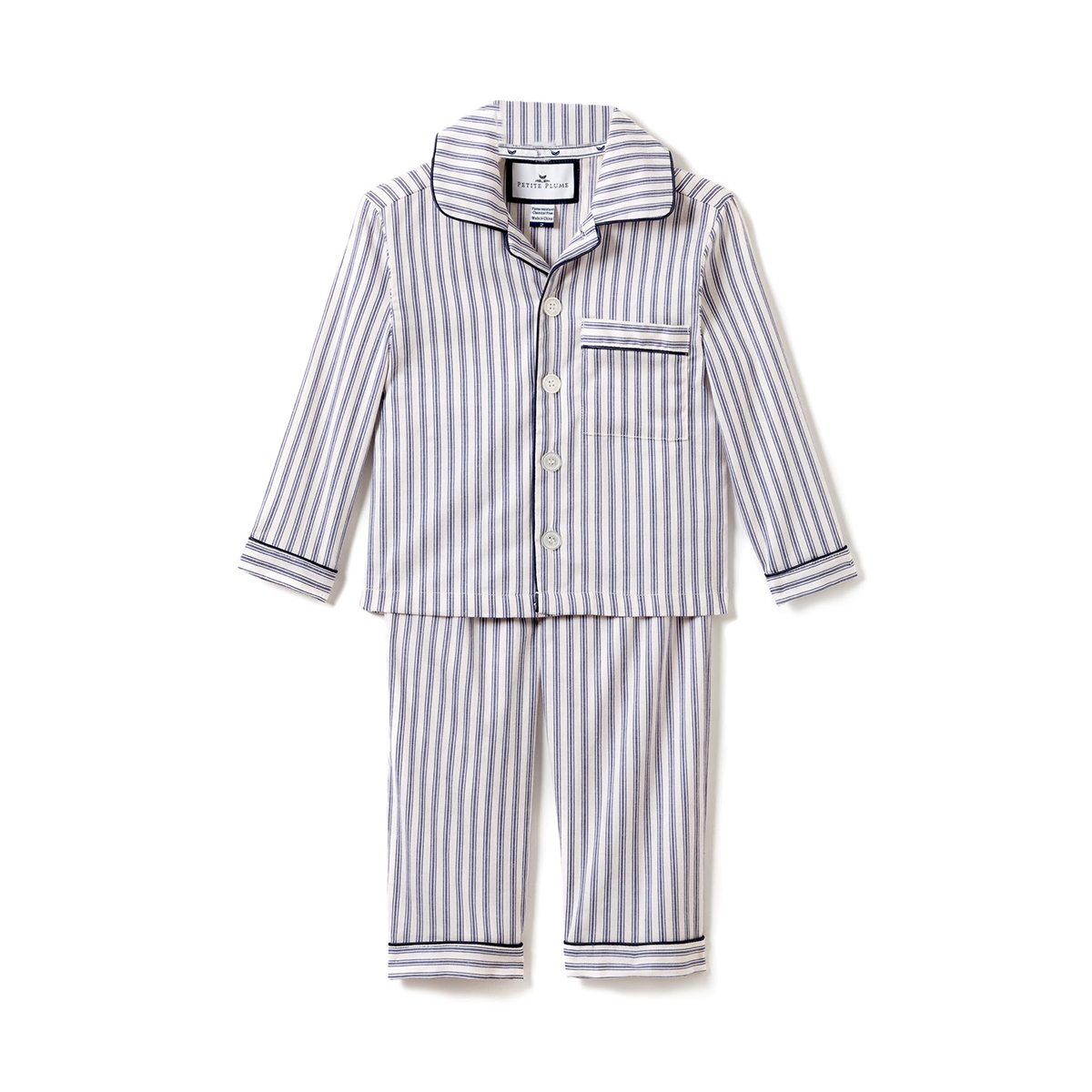 Petite Plume Navy French Ticking PJ Set