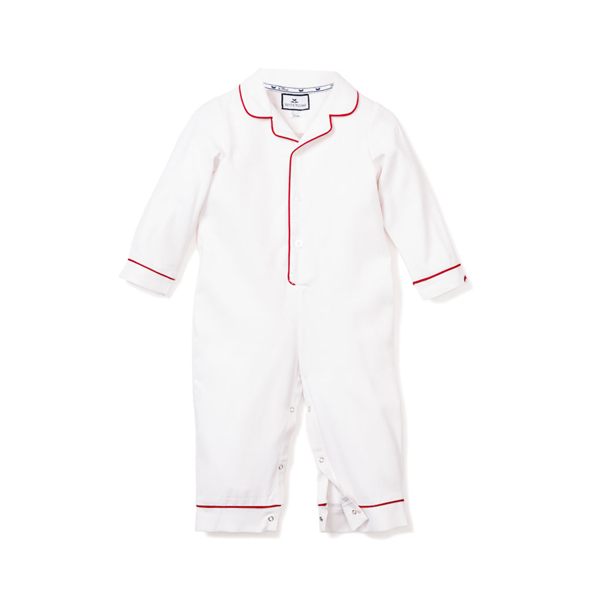 Petite Plume White Festive Romper with Red Piping
