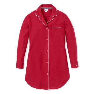 Peite Plume Women's Classic Red Nightshirt with White Piping
