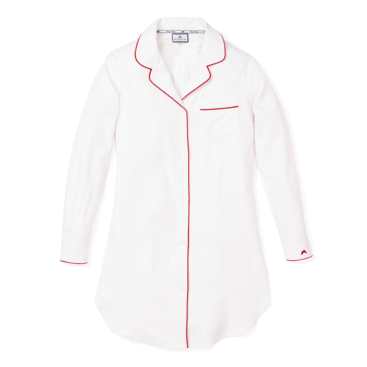 Petite Plume Women's Night Shirt with Red Piping