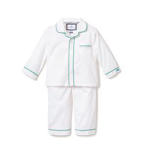 Petite Plume Classic White Pajama with Green Piping
