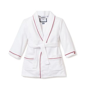 Petite Plume White Flannel Robe with Red Pipping