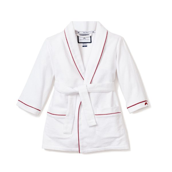 Petite Plume Big Kids White Flannel Robe with Red Piping