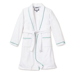 Petite Plume White Flannel Robe with Green Piping