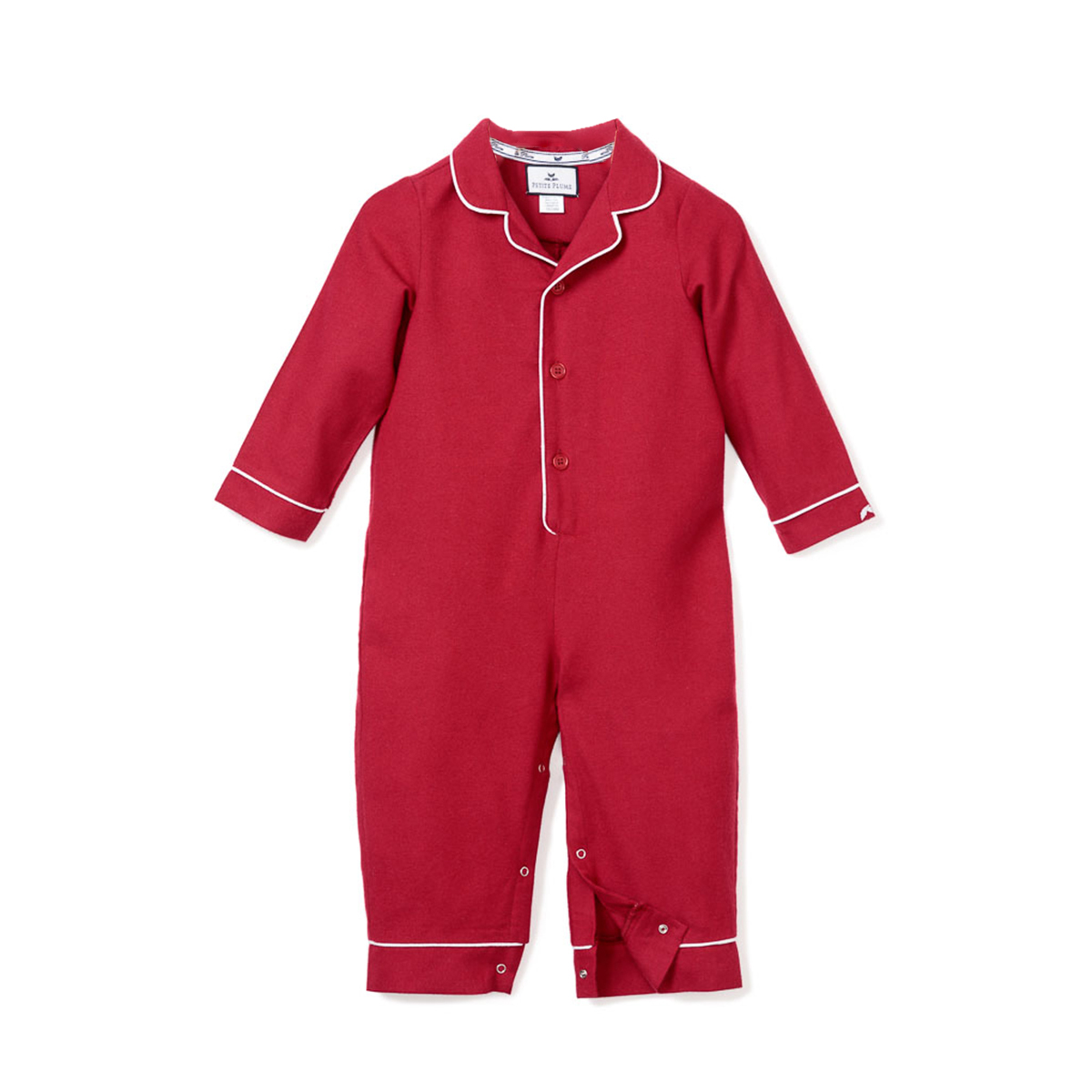 Petite Plume Red Flannel Romper with White Piping