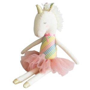Alimrose Yvette Unicorn Doll - Rainbow Stripes AW19