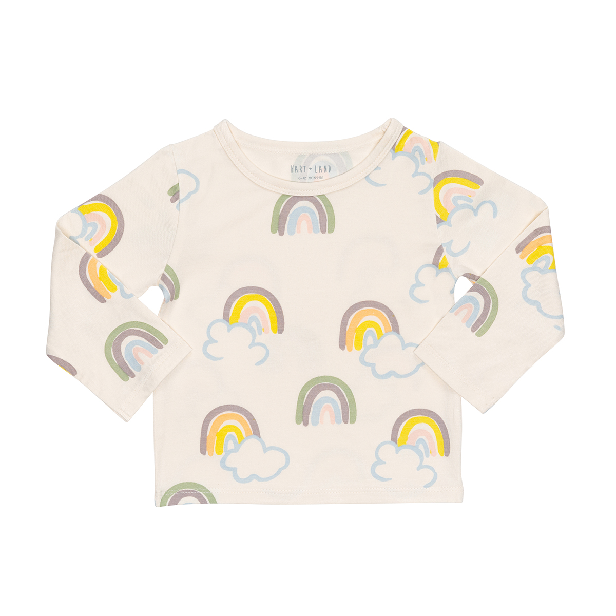 hart + land bamboo rainbow long sleeve crew tee