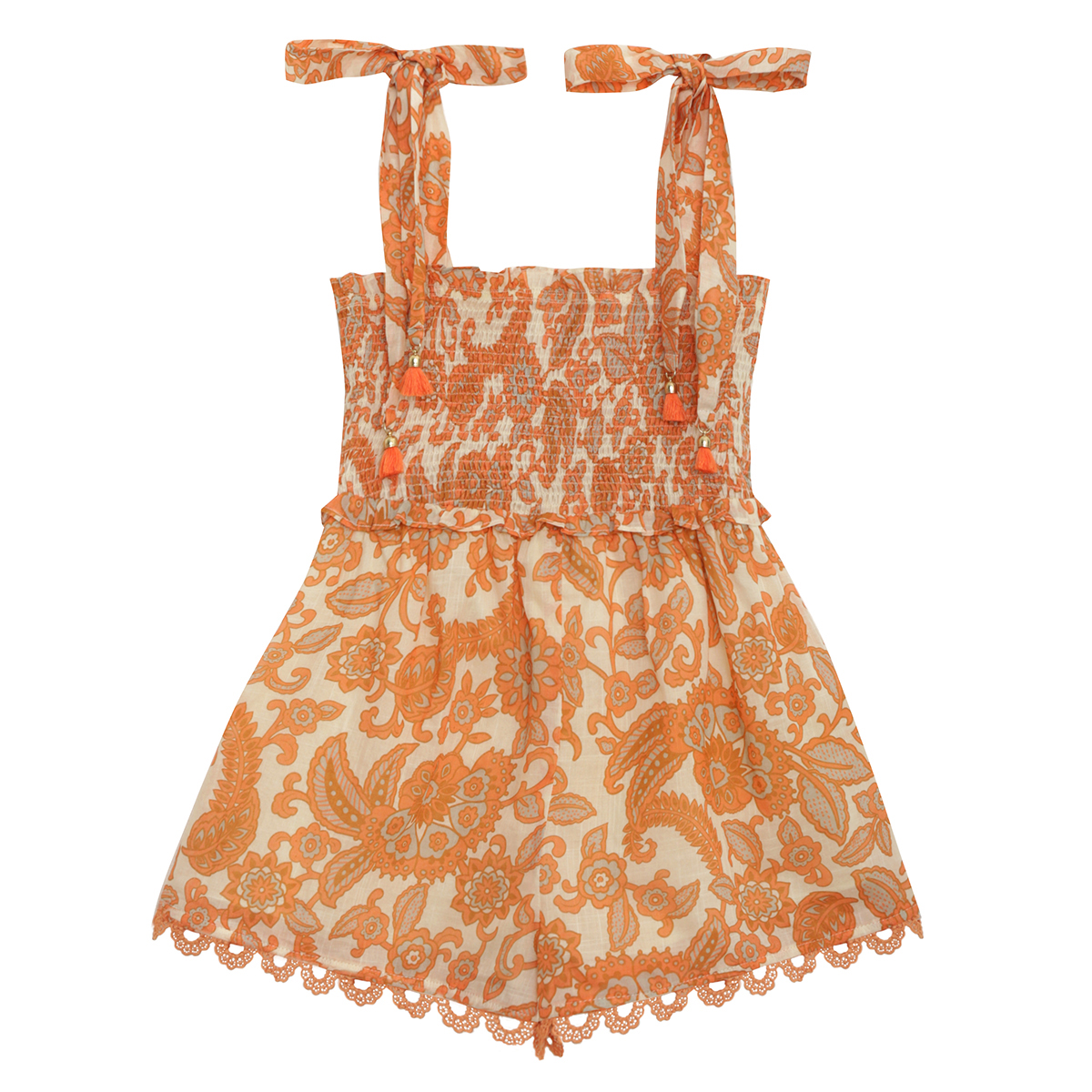 Zimmermann Peggy Shirred Playsuit Orange Paisley FW19