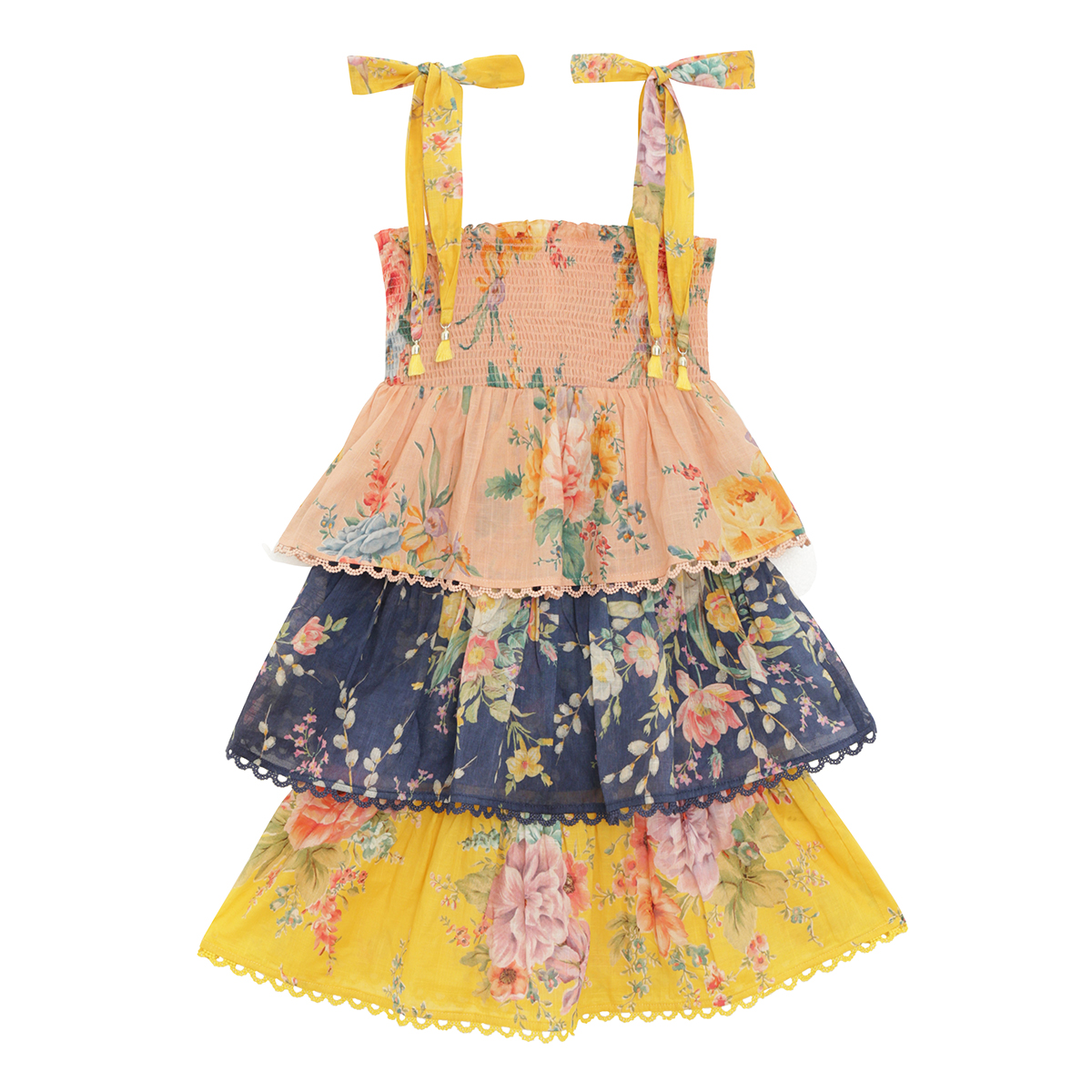 Zimmermann Zinnia Shirred Tiered Dress Spliced FW19