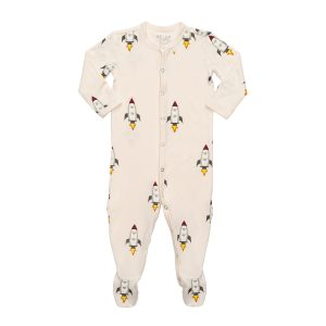 Hart + Land Bamboo Footed Bodysuits Rockets