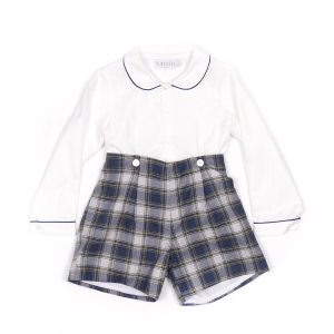 Amaia Top with Navy Piping with Blue Checked Shorts