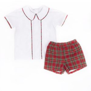 Dondolo White Top with Tartan Piping and Red Tartan Shorts