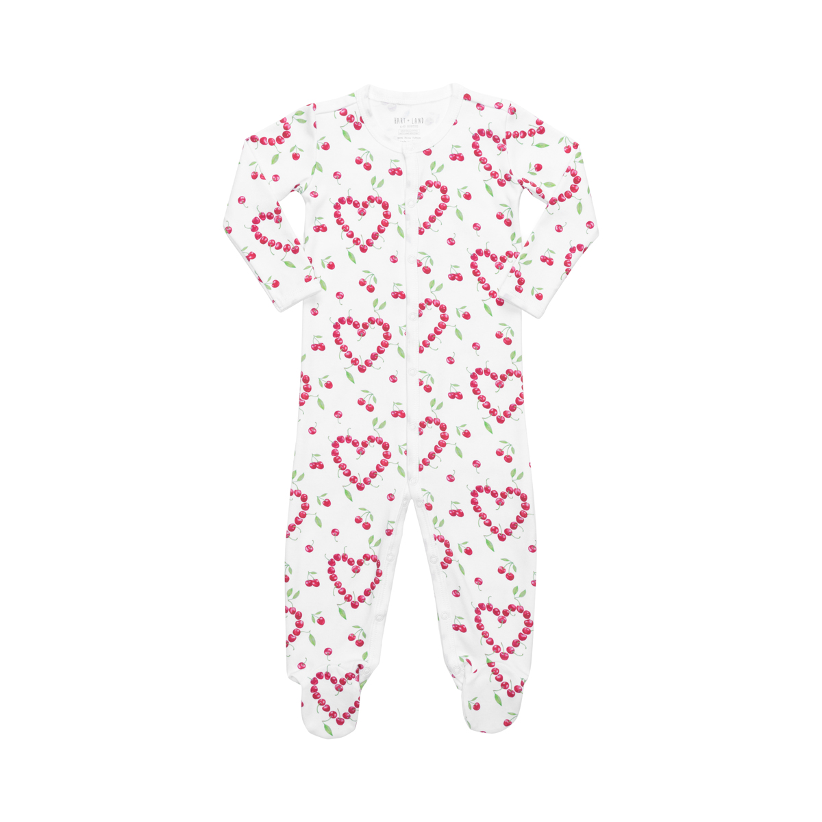 Hart + Land Pima Cotton Footed Bodysuit - Cherry Hearts