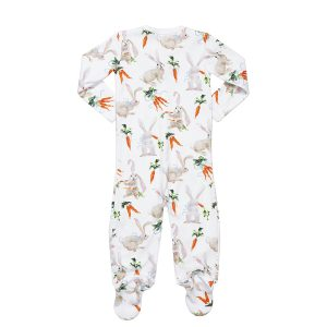 hart + land pima cotton foot pajamas - bunnies and carrots