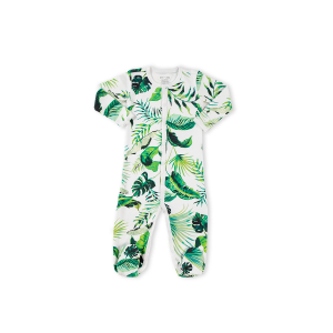 hart + land baby/toddler pima cotton footed bodysuit pj - banana leaves