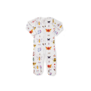 hart + land baby/toddler pima cotton footed bodysuit pj - bugs